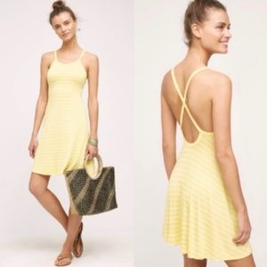 Anthropologie Yellow Striped Dress